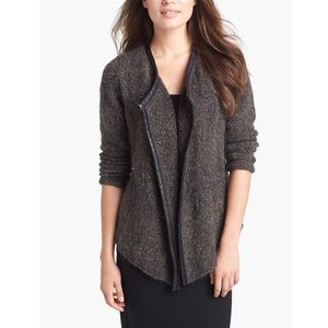 Eileen Fisher leather trimmed sweater jacket
